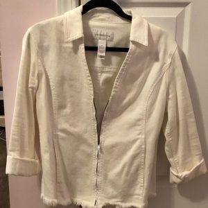 Liz Claiborne white denim jacket